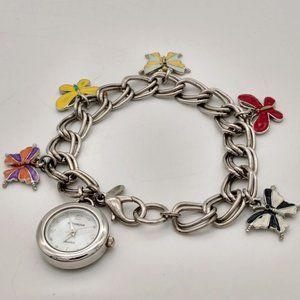 Silver MOP Butterfly Charm Bracelet Watch